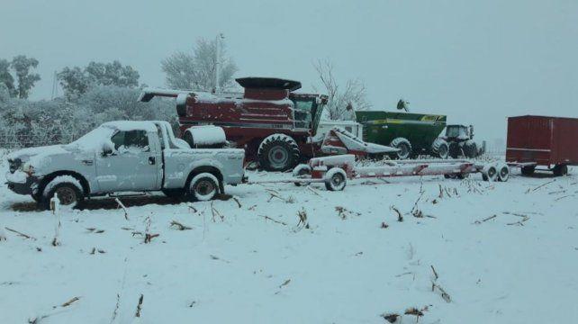 Fierros blancos. Las postales de la nevada en la zona de Río Cuarto (Foto gentileza Germán Tinari)