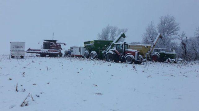 Máquinas de contratistas cubiertas de nieve en la zona de Río Cuarto (Foto gentileza Germán Tinari)